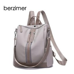 Discount school bags for college students - BERZIMER New Elegant Women Backpack Feminina Fashion College Student School Black Grey Bags for Women Mujer
