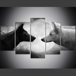 $enCountryForm.capitalKeyWord Australia - 5 Piece Large Size Canvas Wall Art Pictures Creative White and Black Wolf Art Print Oil Painting for Living Room