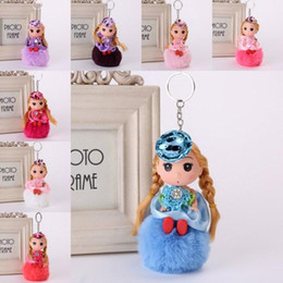 cute keychains for bags NZ - 201910 10 Styles Lovely Doll Hairball Plush Key Chain Cute Barbie Pom Pom Keychains Car Bag Keyring for Women Girl Christmas Gift B767F