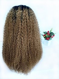 $enCountryForm.capitalKeyWord Australia - Malaysian Kinky Curly Blonde Ombre Human Hair Wig Glueless Lace Front Wigs For Black Women 1B 27 Natural Curly Braided Full Lace Wig