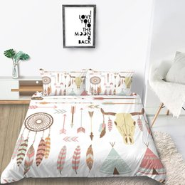 feather duvet set UK - Dreamcatcher Bedding Set Tribal Style Fresh Creative Duvet Cover Feather King Queen Twin Full Single Double Bed Cover with Pillowcase
