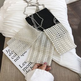 Hands Bags Beaded Australia - Handmade Pearls Beaded Bags For Women Casual Pearl Messenger Bags Evening Party Flap Purses Dress Hands Clutch for Wedding