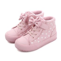 Sneakers Children Australia - Children Pu Leather Shoes Girls Sneakers High Top Polka Dot Bow Breathable Girls Boots 2019 New Winter Fashion Kids Casual Shoes Y19061906