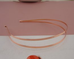 Led Accessories For Parties Wholesale UK - 5PCS Rose Golden plain double 3mm flat metal wire hair headbands at nickle free and lead free for DIY hair accessories,BARGAIN for BULK