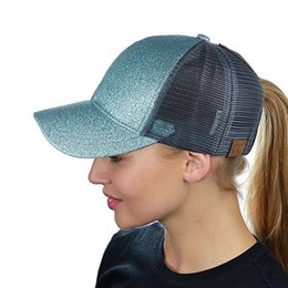 49bdd109cf Black Sequin Baseball Cap Australia - Ponytail Baseball Cap Women Messy  Snapback Caps Summer Mesh Hats