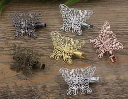 $enCountryForm.capitalKeyWord Australia - 20pcs 35 25*33mm Rose Gold French barrettes hollow butterfly hair pin Alligator clip hairpin silver hairclip antique hairwear jewelry