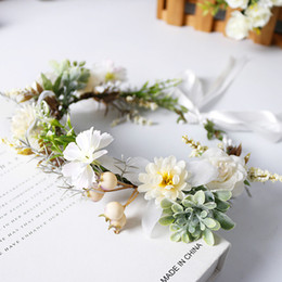 wholesale hair weaving supplies Canada - Flower Wreath Headband Korean Garland Green Artificial Flower Hair Decor Accessories Bohemian Woven Rattan Wedding Party Supply