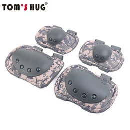 Tactical Protective Gear Australia - Tom's Hug Military Knee Pads Elbow Support Black Hawk Tactical Protective Gear CS Equipment Riding Soft Elbow Protector Set #508290