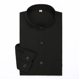 Wholesale china shirt black for sale – custom Classic Black Mandarin Collar Solid Color Long Sleeved Dress Male China Shirt Stand Collor Business Formal Brand Mens Clothing