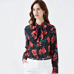 China 2019 100% Pure Silk Women's Runway Shirts Bow Collar Long Sleeves Floral Printed Elegant Tops Blouse Shirts in 2 Colors cheap elegant silk blouses suppliers