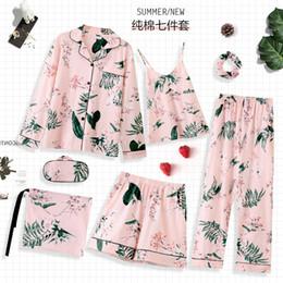 3d1a5e546a 2019 Fashion Pyjama Women Pajama Set Sexy Long Sleeve Tops Pants Shorts 7  Pieces Home Wear Female Fresh Floral Sleepwear Suit