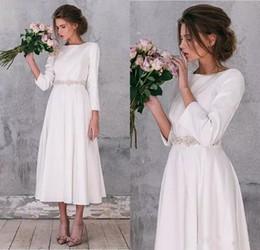 Soft pink gown online shopping - Vintage Long Sleeve soft Satin Wedding Dresses Elegant A Line Tea Length Gorgeous Simple Wedding Bridal Gowns Robe De Mariage