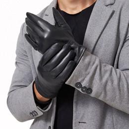 b3143b0ef451d 2019 high quality Thicken Genuine Leather Gloves for Men Fashion Brand Real  Sheepskin Gloves Warm Winter Mittens