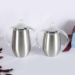 double clamp Canada - 8oz 10oz 14oz Creative Children's 304 Stainless Steel Vacuum Flask Insulation Bottle Eggshell Cup Double Handle Nozzle Baby Cup
