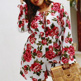3936507b30a Plus size bodysuits romPers online shopping - WHZHM Lace Up Flower Bodycon  Bodysuit Female Rompers Women