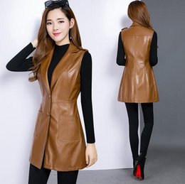 Korean leather jacKet brands online shopping - Hot Korean Spring New Fashion Mid length PU Leather Vest Women Casual Slim Large size jackets Brand Women s clothing L XL