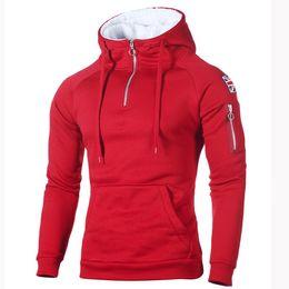 new rice 2019 - hoodies Men's Sweater Decorative Zip Neckline Hooded Long Sleeve Sleeve Rice Sticker Pocket Sweatshirt New Arrival