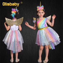 girls horse clothes UK - Child Halloween Girls Pony Ball Gown Infant Rainbow Voile Unicorn Dress Kids Horse Clothes Girl Angel Unicorn Wing + Headband