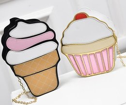 mini halloween cupcakes Australia - New Ice Cream Bag Fashion 2D Funny Ice Cream Cupcake Handbag Messenger Zipper Bag Purse Crossbody Splicing Messenger Body Key Bag