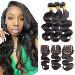 cheap black hair weave extension Australia - Brazilian Virgin Human Hair Bundles with Lace Closure Body Wave Human Hair Weave Bundles Cheap Hai Extensions Natural Black