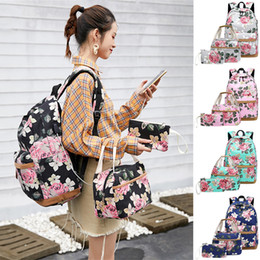 canvas floral lunch bag Australia - Female Backpack Laptop Girls Floral School Backpack Cute Daypack Bookbag Lunch Bag Purse 3 Piece Set Bags For Women Nice Back#bc