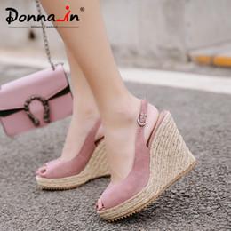 $enCountryForm.capitalKeyWord Australia - Donna-in Platform Sandals Wedge Women Genuine Leather Super High Heels Open Toe Beach Fashion Female 2019 Summer Ladies Shoes Y19070503