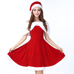 Discount santa fur - UPHYD Christmas Costume Ladies Sexy Santa Dress Red Velvet Fur Women New Year Party Suit