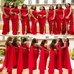 ef0dbadea1bf Cheap wedding guest dress online shopping - Arabic Cheap Red Mermaid  Bridesmaid Dresses One Shoulder Side