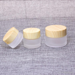 frosted cream jar cap Australia - Frosted Glass Jar Cream Bottles Round Cosmetic Jars Hand Face Cream Bottle 5g-10g-15g-30g-50g Jars with wood grain cover Epacket