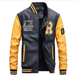 Wholesale letterman college baseball jacket for sale – winter Mens Baseball Leather Jacket Bomber College Jackets Black Red Yellow Yellow Jacket Youth Varsity Letterman Leather coat