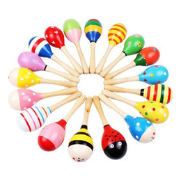 Baby Rattles Australia - 1pcs Colorful Wooden Maracas Baby Child Musical Instrument Rattle Shaker Party Children Gift Toy