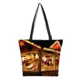 large canvas prints black white UK - Pop2019 Customized Ladies Shoulder Bag Printing Christmas Pattern Photo Bag Portable Canvas Beach Leisure