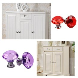 Pull Handles Crystals Australia - Wholesale 30mm Diamond Shape Design Handles Crystal Glass Knobs Cupboard Pulls Drawer Knobs Kitchen Furniture Cabinet Handles DH0920
