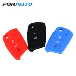 Wholesale FORAUTO Car Remote Flip Folding Key Case Buttons Silicone Key Shell Fob For VW Jetta Golf Passat Beetle Polo Bora