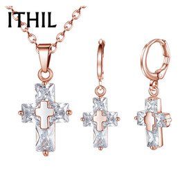 Rose Pendant Jewellery Australia - ITHIL Fashion Christian Jewelry Set Rose Gold Silver Cross Pendant Necklace Earrings Cubic Zirconia Jewellery Sets For Women