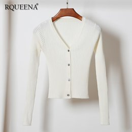 $enCountryForm.capitalKeyWord NZ - Rqueena Korean Style Women's Cardigans White Black Womens Crop Knitted Cardigan Long Sleeve Knitwear Cardigan For Women CA006