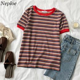 $enCountryForm.capitalKeyWord Australia - Neploe 2019 Summer Vintage Korean T Shirt Women Short Sleeve Striped O-neck Tops Casual Fashion One Size Female T-shirts 68085 T19053105