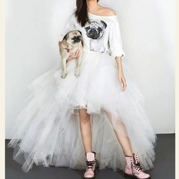 tutus for cheap Canada - Cheap Tulle Skirts Tutu Length Hi Low Cute Woman Tulle Skirt For Wedding Saias Longa Y19051401