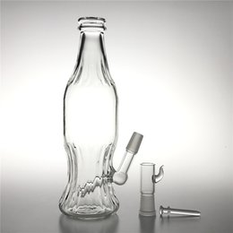 14mm Thick Bong Australia - New 9 Inch Glass Unique Bongs with 14mm male Thick Pyrex Recycler Soda Bottle Heady Glass Beaker Water Bongs for Smoking