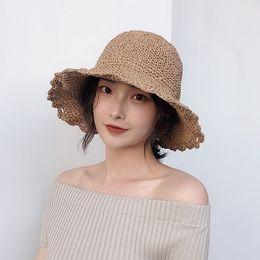 4aa405c9 Handmade Sun Hats Raffia Wide Brim Straw Hats Summer Sun for Women With  Leisure Beach Lady Round Shade Simple fashion