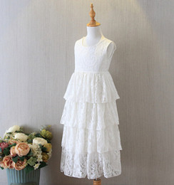 white ruffle tutu NZ - Girls lace princess dresses 2020 summer children white back V-neck tiere lace long dress kids holiday party dress A1910