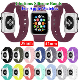 $enCountryForm.capitalKeyWord Australia - New design 2 button soft sport silicone bands watchbands for apple watches 38mm 40mm 42mm 44mm Wrist Strap With Adapters bands