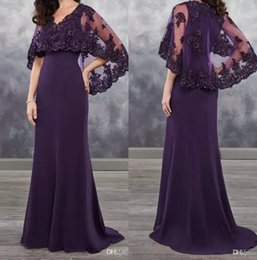 $enCountryForm.capitalKeyWord Australia - Dark Purple Mother of the bride dresses chiffon with bolero sheer with Applique shining sequins new arrival chiffon wedding guest dress