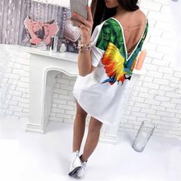 Venta al por mayor de 2018 tops blancos del verano flojo ocasional largo loro imprimir moda camisetas camiseta alta baja mujer mini vestido # 484544