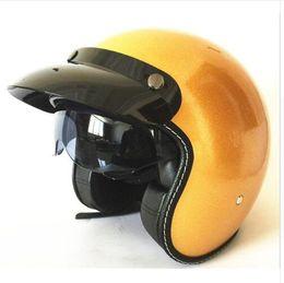 Dot Half Helmets Face Australia - motorcycle helmet vespa vintage harley winter half helmet with inner visor jet retro capacete casque moto helmet DOT mate star Y