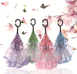 $enCountryForm.capitalKeyWord Australia - Transparent Reverse Umbrella C Handle Double Layer Cherry Blossoms Inverted Umbrella Rain Women C-Hook Windproof Folding Umbrella 9 Styles