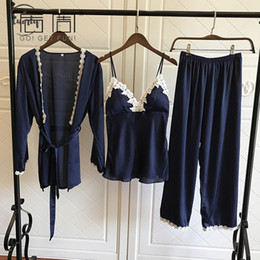 Pajamas lace online shopping - Sleepwear Pajamas Satin For Women Elegant Pieces Female Sexy Lace Pants At All Seasons Silk Pajamas Set Vest Pijama