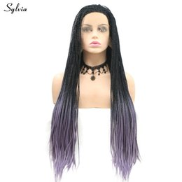 $enCountryForm.capitalKeyWord Australia - Braided Box Braids Wig Black Roots Ombre Purple Red Grey Synthetic Lace Front Wigs For Women Long Afro Party Cosplay Hair