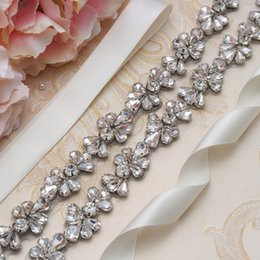 Wholesale Thin Wedding Dress Belt Crystal Flower Bridal Belt Silver Rhinestones Bridal Sash For Women Formal Dress
