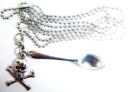 Mini Silver Spoons Australia - Gothic Bone Skull Head Mini Tea Snuff Spoon Necklace Pendant Ball Chain Statement Necklace Women Accessories Fashion Jewelry Party Gifts